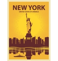 Statue of liberty on the background of new york vector