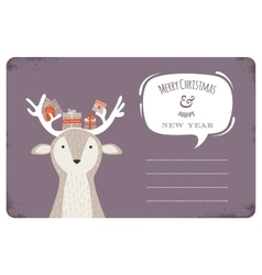 Fun christmas of deer bearing gifts vector