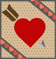 red heart with arrow background vector image