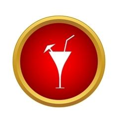 Martini glass with straw and umbrella icon vector