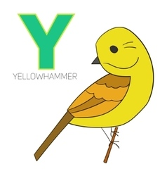 Alphabet letter y yellowhammer bird vector