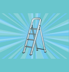 aluminum ladder for repairs in the house vector image