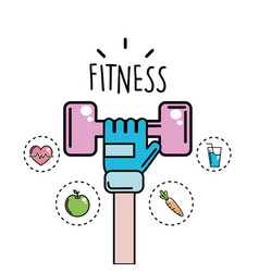 Arm with dumbbell and healthy icons vector