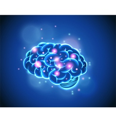 Brain Concept of blue background vector image vector image