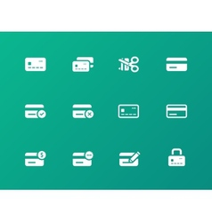 Credit card icons on green background vector image