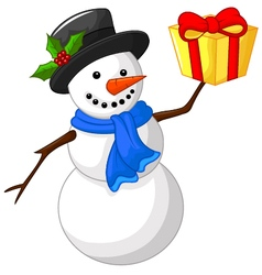 Cute cartoon snowman with gift vector image vector image
