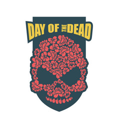 Day of the dead flower skull mexico traditional vector
