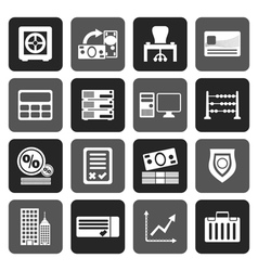 Flat bank business finance and office icons vector
