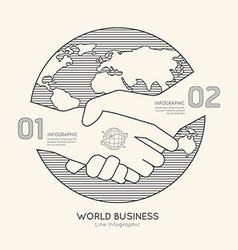 Flat linear infographic world business handshake vector