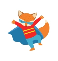 Fox animal dressed as superhero with a cape comic vector