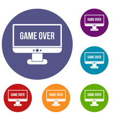 Game over icons set vector