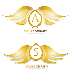 Gold golden wings logo icon set vector