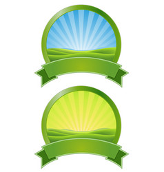 Green sunrise banners vector