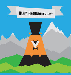 Happy groundhog day icon spring design with vector
