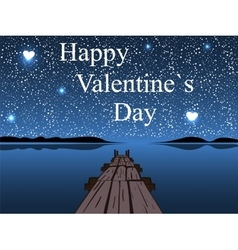 Happy Valentines day night water sky heart star vector image vector image