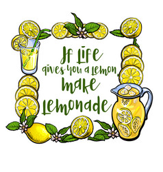 if life gives you lemon make lemonade lettering vector image