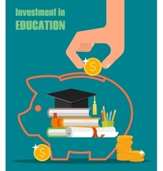 Invest in education concept stack of books vector