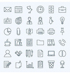 Line Business Office Icons Set vector image