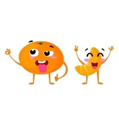 Mandarin cute fruit character couple vector