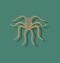 paper sticker on background of octopus vector image vector image