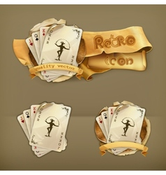 Playing cards with a joker icon vector image vector image