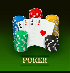 Poker banner with realistic cards plastic chips vector
