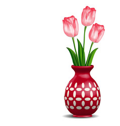 Red vase with rosy tulips posy isolated on white vector