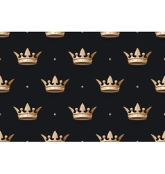 Seamless pattern with gold king crown on a dark vector image vector image