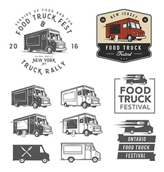 Set of food truck festival emblems badges and des vector image