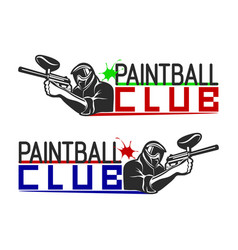 set of monochrome paintball logos emblems and vector image vector image