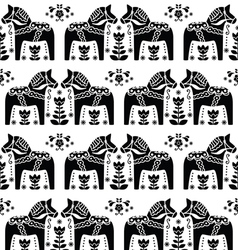 Swedish dala or daleclarian horse seamless pattern vector