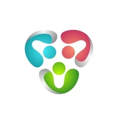 teamwork logo global modern people connection vector image vector image