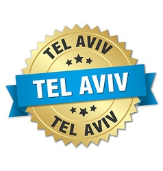 Tel aviv round golden badge with blue ribbon vector
