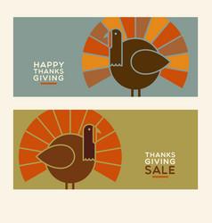 thanksgiving turkey banner designs vector image