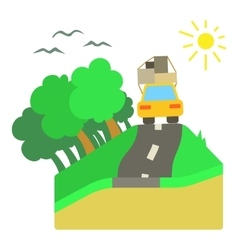 Trip by car on road concept flat style vector