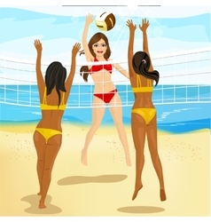 Women play volleyball at the beach vector