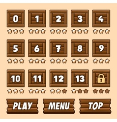 Wooden box level selection panel with buttons for vector image