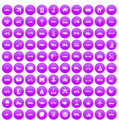 100 transport icons set purple vector image