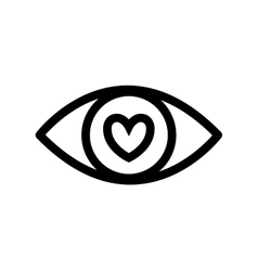 Eye heart look vision optical icon vector
