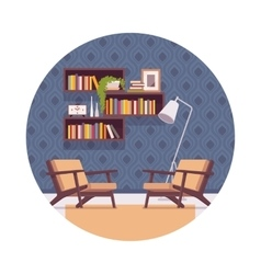 Retro interior with bookshelves chairs lamp vector