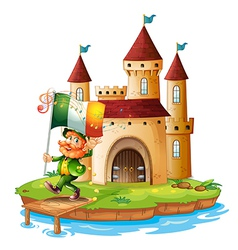 A castle with a man holding the flag of ireland vector