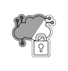 Cloud computing security system vector image
