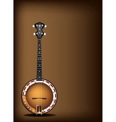 A beautiful banjo on dark brown background vector