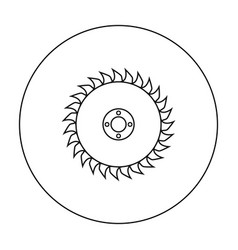 Saw disc icon in outline style isolated on white vector