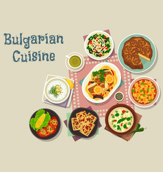 Bulgarian cuisine traditional lunch dishes icon vector
