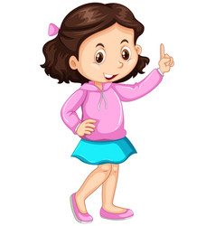 Little girl pointing up the finger vector