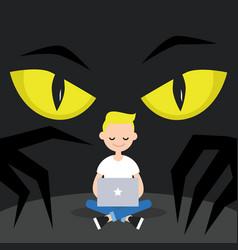 Stealing data conceptual big yellow eyes spying vector