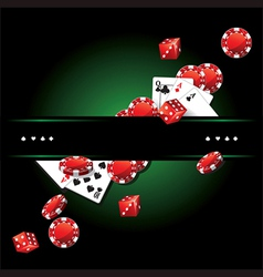 Cards Chips Casino background vector image