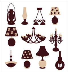 Vintage lights chandeliers and table lamps vector