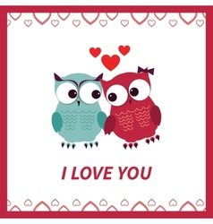 Lovers and happy owls with hearts vector